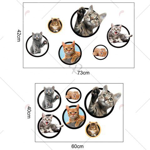 Store 3D Cat Pattern Wall Sticker - COLORFUL  Mobile