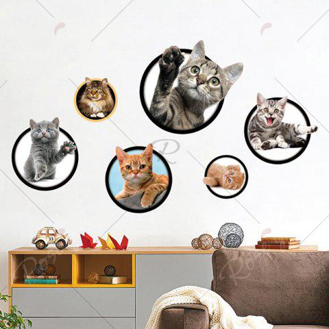 New 3D Cat Pattern Wall Sticker - COLORFUL  Mobile