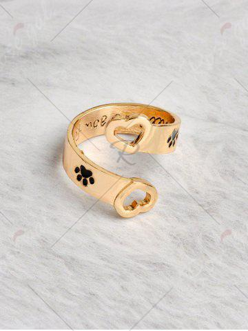 Trendy Love You Forever Heart Claw Footprint Ring - GOLDEN  Mobile