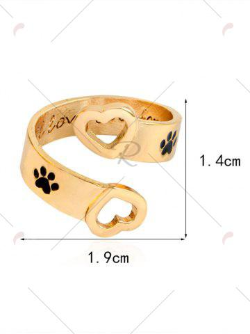 Buy Love You Forever Heart Claw Footprint Ring - GOLDEN  Mobile
