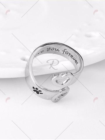 Online Love You Forever Heart Claw Footprint Ring - SILVER  Mobile