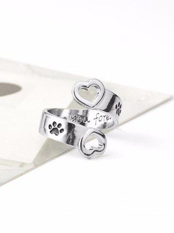 Love You Forever Heart Claw Footprint Ring
