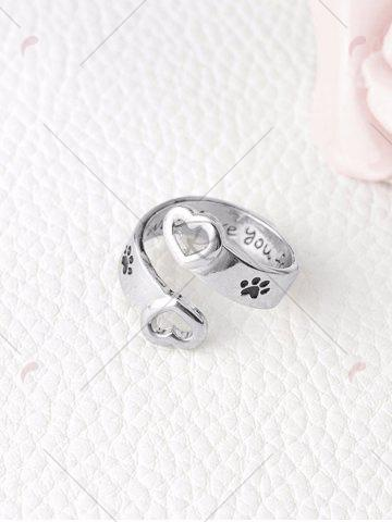 Buy Love You Forever Heart Claw Footprint Ring - SILVER  Mobile