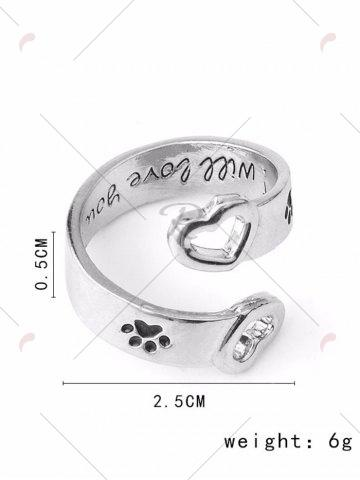 Discount Love You Forever Heart Claw Footprint Ring - SILVER  Mobile