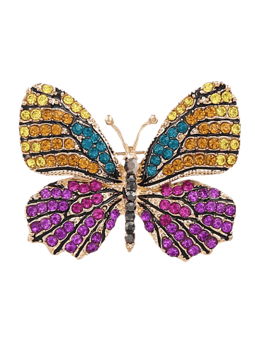 Broche papillon en cristal brillant