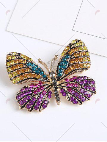 Hot Sparkly Rhinestone Butterfly Brooch - PURPLE  Mobile