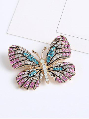 Online Sparkly Rhinestone Butterfly Brooch - PINK  Mobile