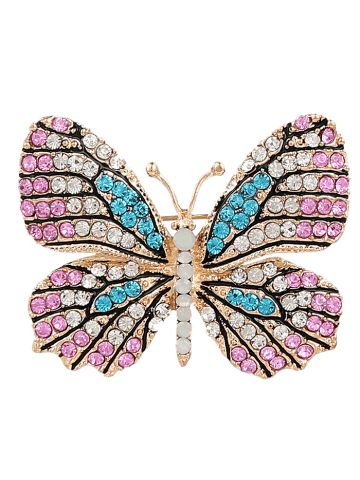 Broche papillon en cristal brillant ROSE Pu00c2LE