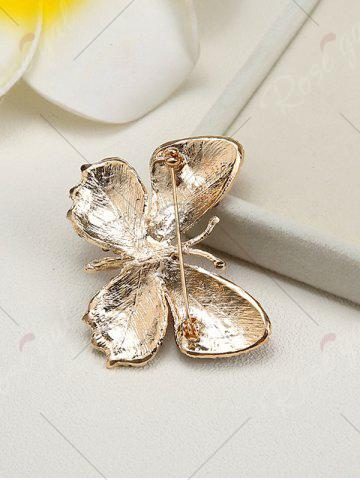 New Sparkly Rhinestone Butterfly Brooch - RED  Mobile