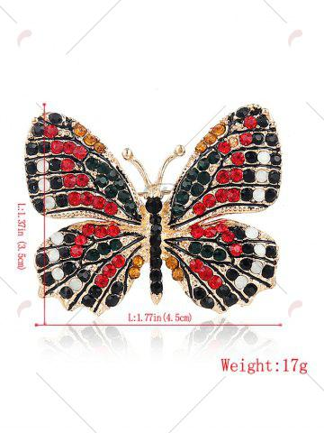 Trendy Sparkly Rhinestone Butterfly Brooch - RED  Mobile