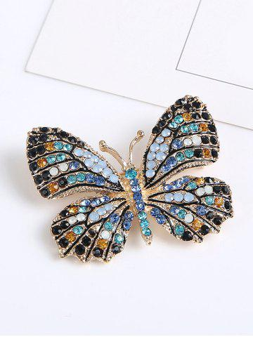 New Sparkly Rhinestone Butterfly Brooch - BLUE  Mobile