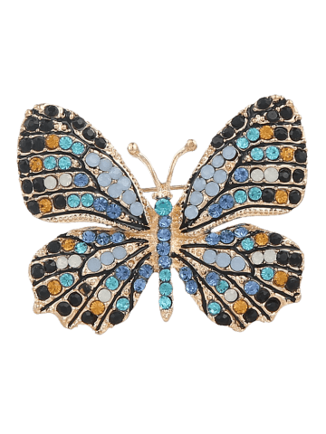 Affordable Sparkly Rhinestone Butterfly Brooch - BLUE  Mobile