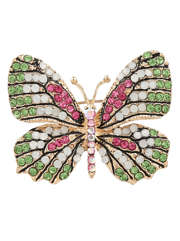 New Sparkly Rhinestone Butterfly Brooch - GREEN  Mobile