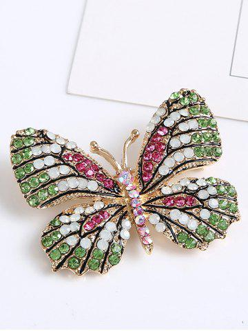Trendy Sparkly Rhinestone Butterfly Brooch - GREEN  Mobile