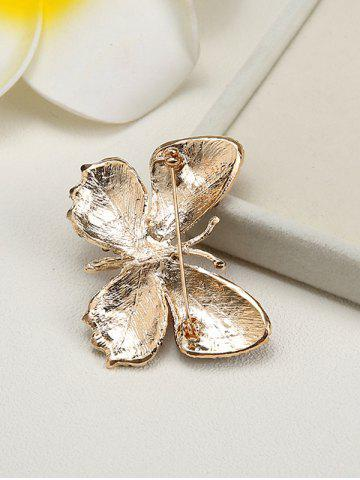 Online Sparkly Rhinestone Butterfly Brooch - YELLOW  Mobile