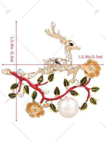 Chic Rhinestoned Faux Pearl Christmas Elk Brooch - RED  Mobile