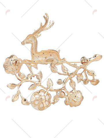 Outfit Rhinestoned Faux Pearl Christmas Elk Brooch - RED  Mobile