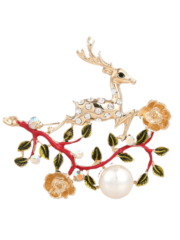 Fancy Rhinestoned Faux Pearl Christmas Elk Brooch RED