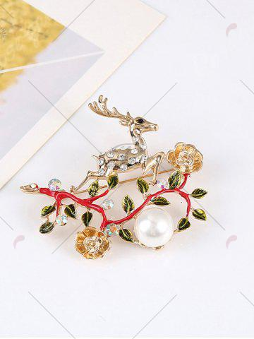 Cheap Rhinestoned Faux Pearl Christmas Elk Brooch - RED  Mobile
