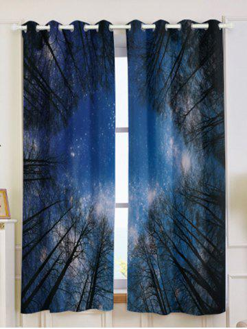 Discount Forest Starry Sky Printed 2Pcs Lightproof Window Curtains - W53 INCH * L63 INCH DEEP BLUE Mobile