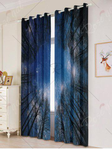 Fashion Forest Starry Sky Printed 2Pcs Lightproof Window Curtains - W53 INCH * L96.5 INCH LIGHT BLUE Mobile