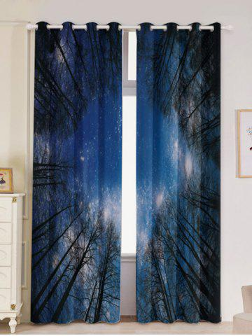 Hot Forest Starry Sky Printed 2Pcs Lightproof Window Curtains LIGHT BLUE W53 INCH * L96.5 INCH