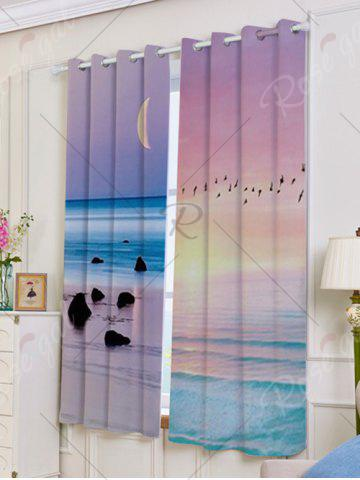 Cheap Seaside Sunset Pattern 2Pcs Lightproof Window Curtains - W53 INCH * L63 INCH COLORFUL Mobile
