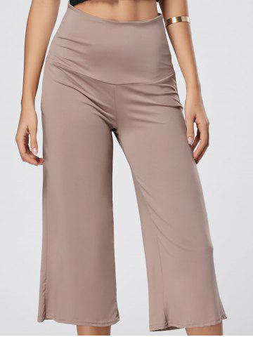 New High Waisted Wide Leg Capri Pants SKIN COLOR 2XL