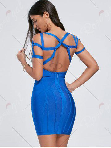 Latest Bodycon Cut Out Caged Bandage Mini Dress - S BLUE Mobile