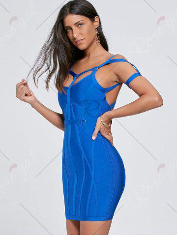 Online Bodycon Cut Out Caged Bandage Mini Dress - S BLUE Mobile
