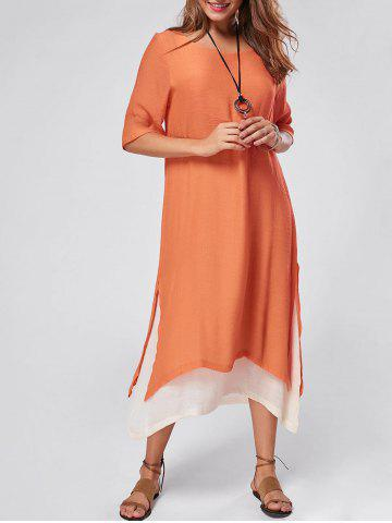 Robe maxi en lin asymétrique haute rayure Orange 2XL