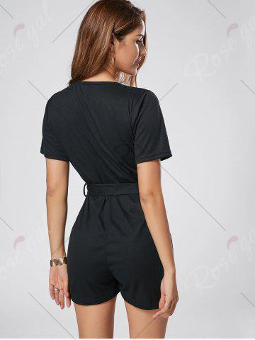 Sale Button Down Knitted Romper - M BLACK Mobile