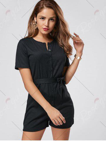 Store Button Down Knitted Romper - L BLACK Mobile