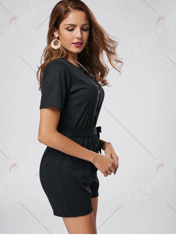 Buy Button Down Knitted Romper - L BLACK Mobile
