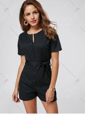 Online Button Down Knitted Romper - L BLACK Mobile