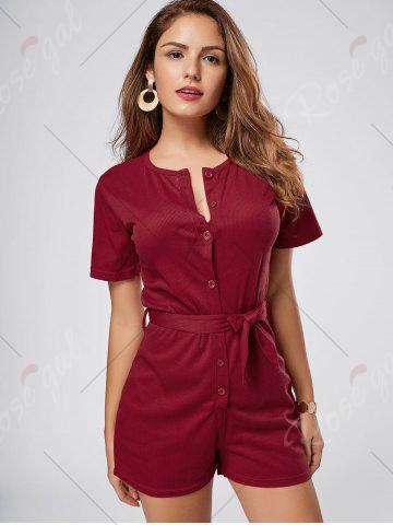 Fashion Button Down Knitted Romper - M WINE RED Mobile