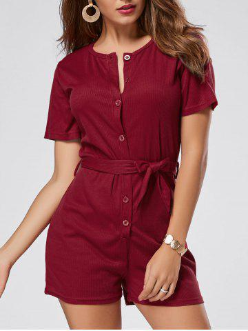 Trendy Button Down Knitted Romper - S WINE RED Mobile