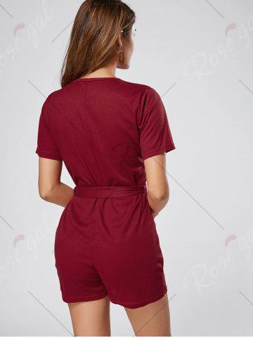 Fashion Button Down Knitted Romper - S WINE RED Mobile