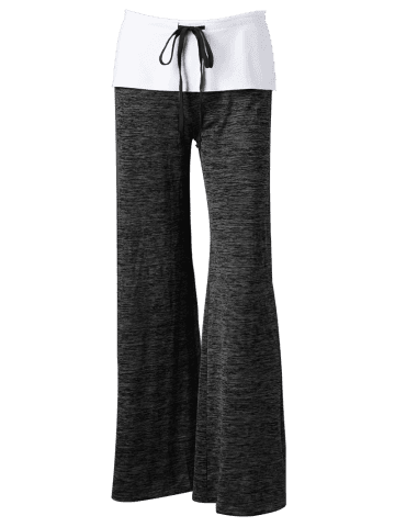 Outfits Foldover Heather Palazzo Pants - BLACK GREY S Mobile