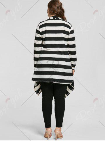 Fashion Plus Size Cowl Neck Long Sleeve Striped Top - XL WHITE AND BLACK Mobile