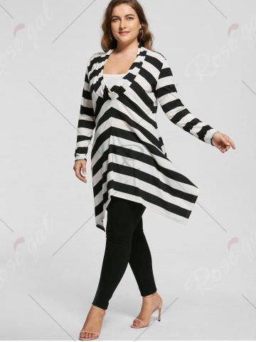 Hot Plus Size Cowl Neck Long Sleeve Striped Top - XL WHITE AND BLACK Mobile