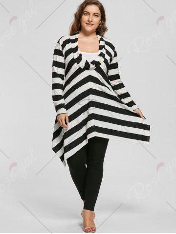 Trendy Plus Size Cowl Neck Long Sleeve Striped Top - XL WHITE AND BLACK Mobile