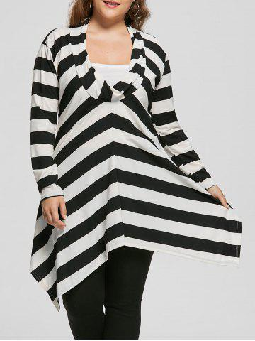 Fancy Plus Size Cowl Neck Long Sleeve Striped Top WHITE AND BLACK XL