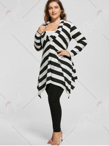 Shop Plus Size Cowl Neck Long Sleeve Striped Top - XL WHITE AND BLACK Mobile