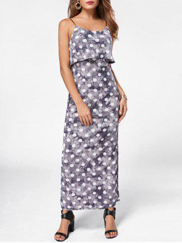 Discount Maxi Polka Dot Slip Dress GRAY 2XL
