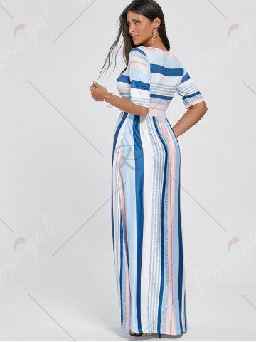 Trendy Color Block Striped Half Sleeve Maxi Dress - S WHITE Mobile