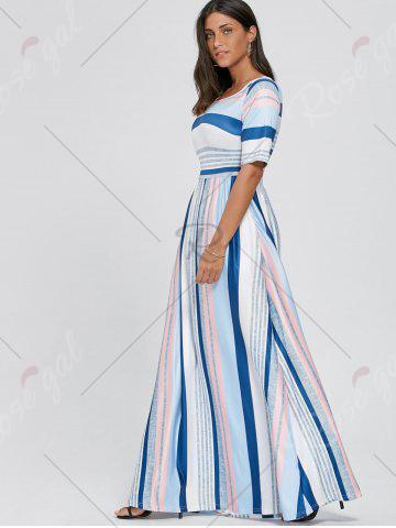 Fancy Color Block Striped Half Sleeve Maxi Dress - S WHITE Mobile