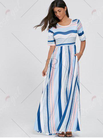 Outfits Color Block Striped Half Sleeve Maxi Dress - S WHITE Mobile
