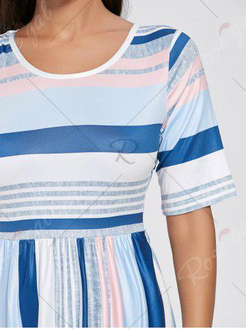 Buy Color Block Striped Half Sleeve Maxi Dress - S WHITE Mobile