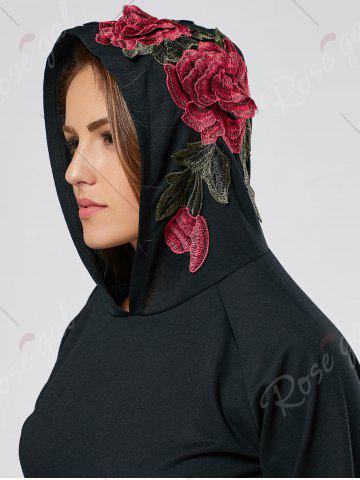 Trendy Floral Embroidered Hoodie - S BLACK Mobile